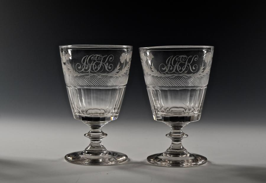 Pair of engraved bucket bowl rummer English C1820