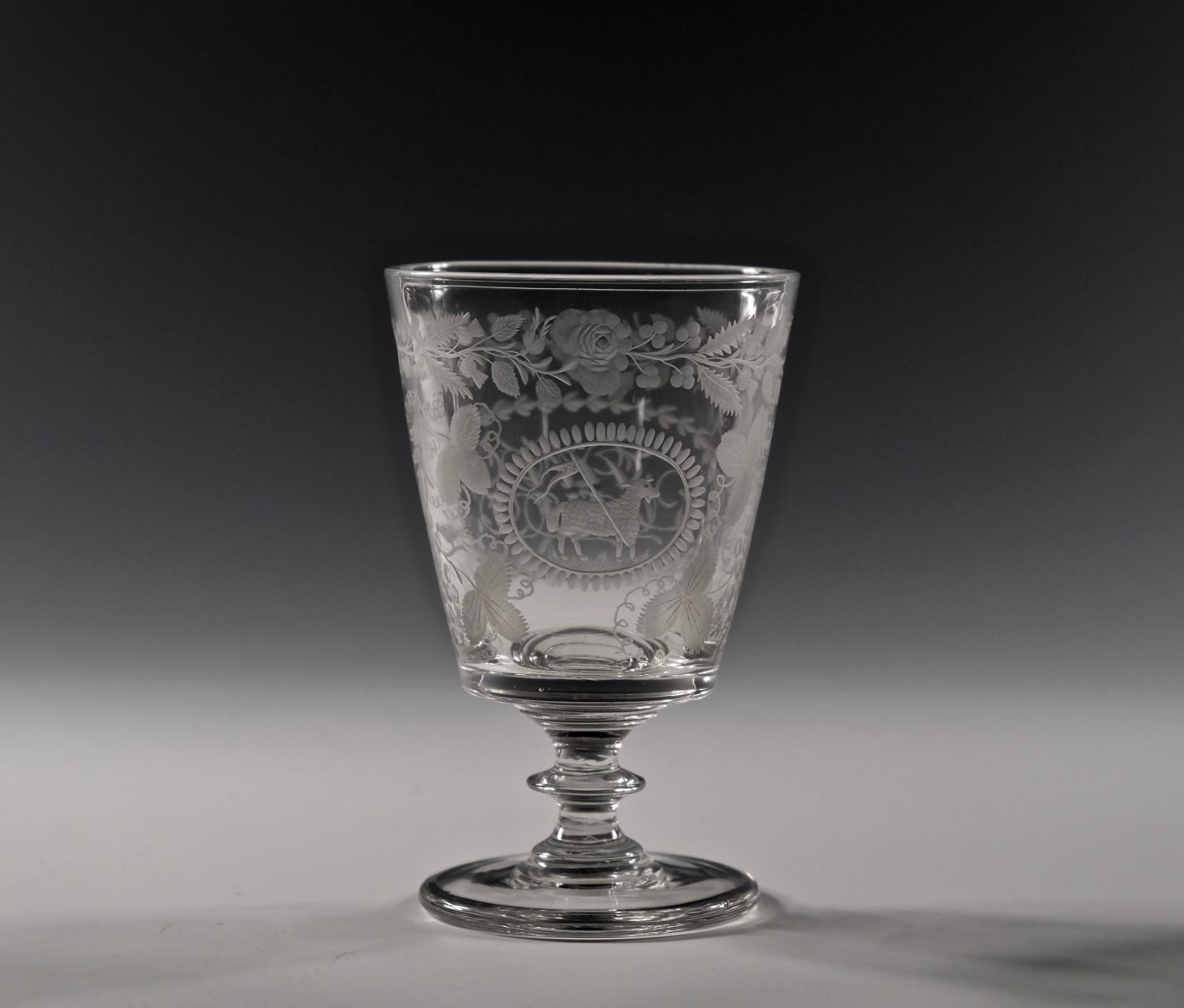 Engraved bucket bowl rummer English C1820