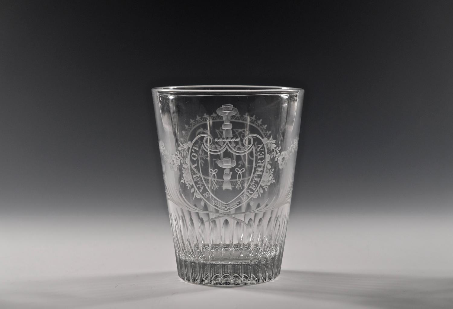 Large engraved heraldic tumbler English C1800