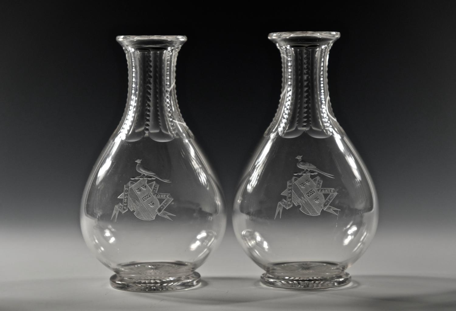 Pair of carafes with engraved armorial English C1870