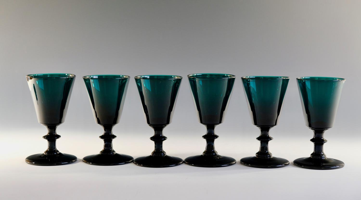 Set of six green wine glasses C1820