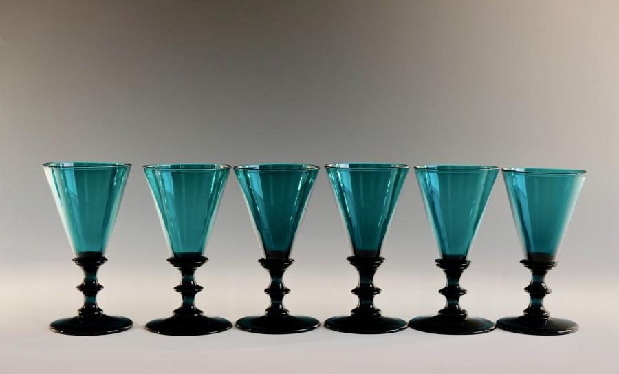 Set of six green wine glasses English C1830