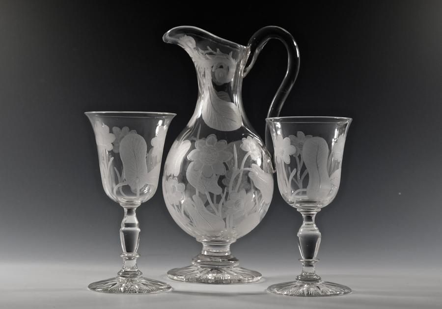 Jug and two goblets C1870