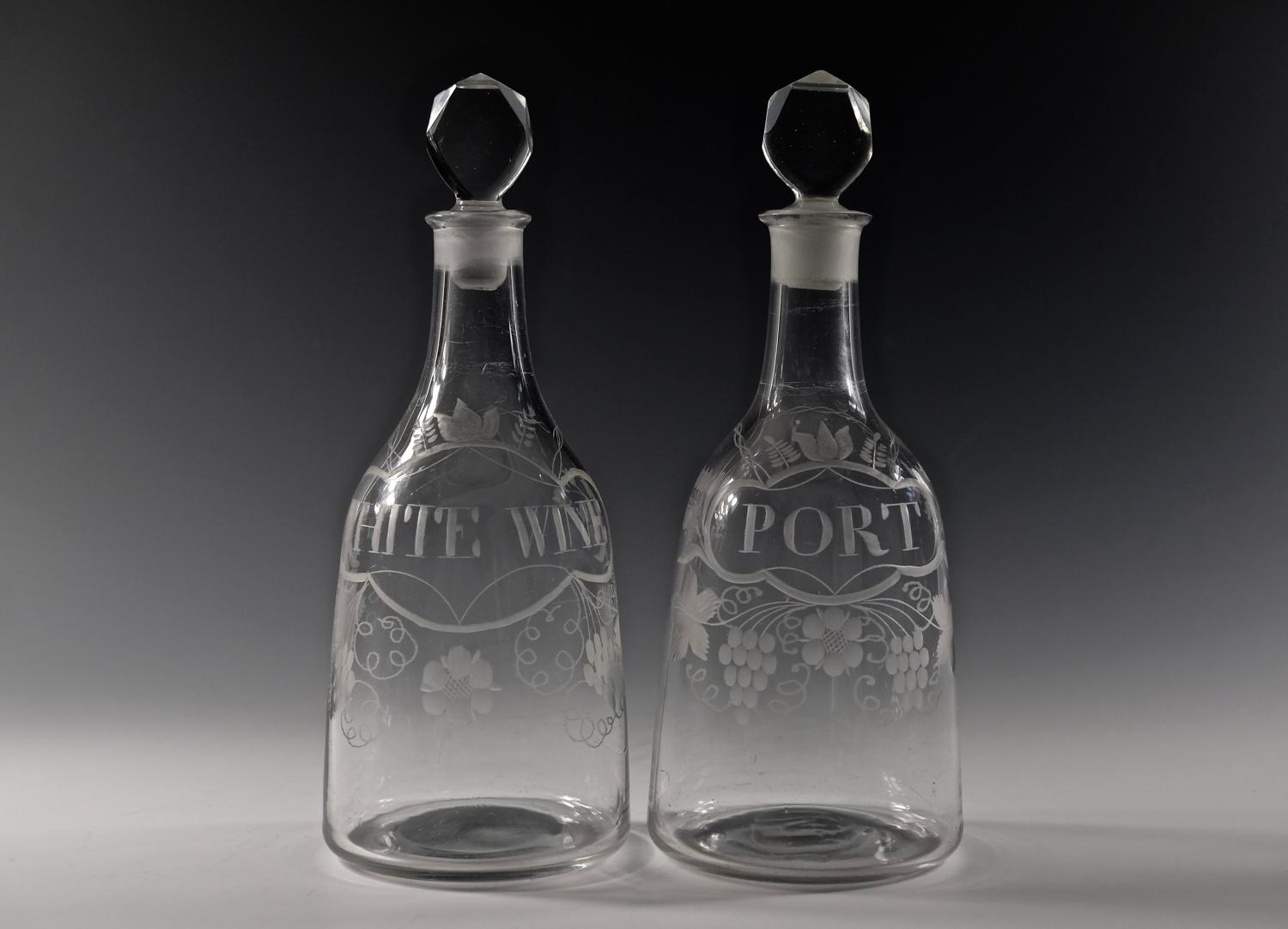 Near pair of labelled mallet decanter English C1770