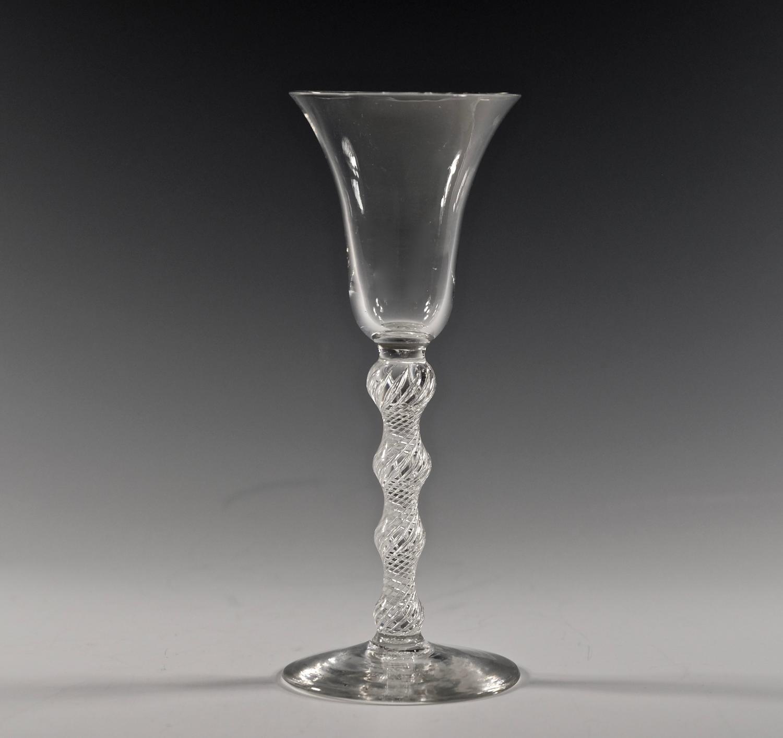 Rare Multi spiral air twist wine glass C1750
