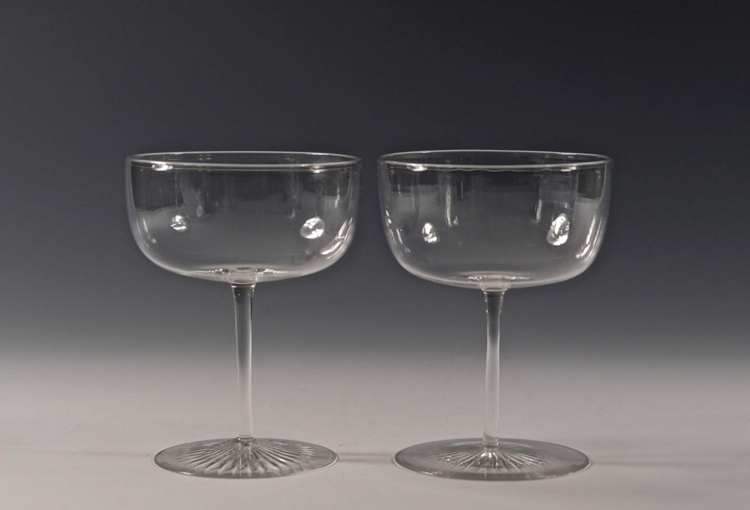 Pair of champagne glasses English C1890