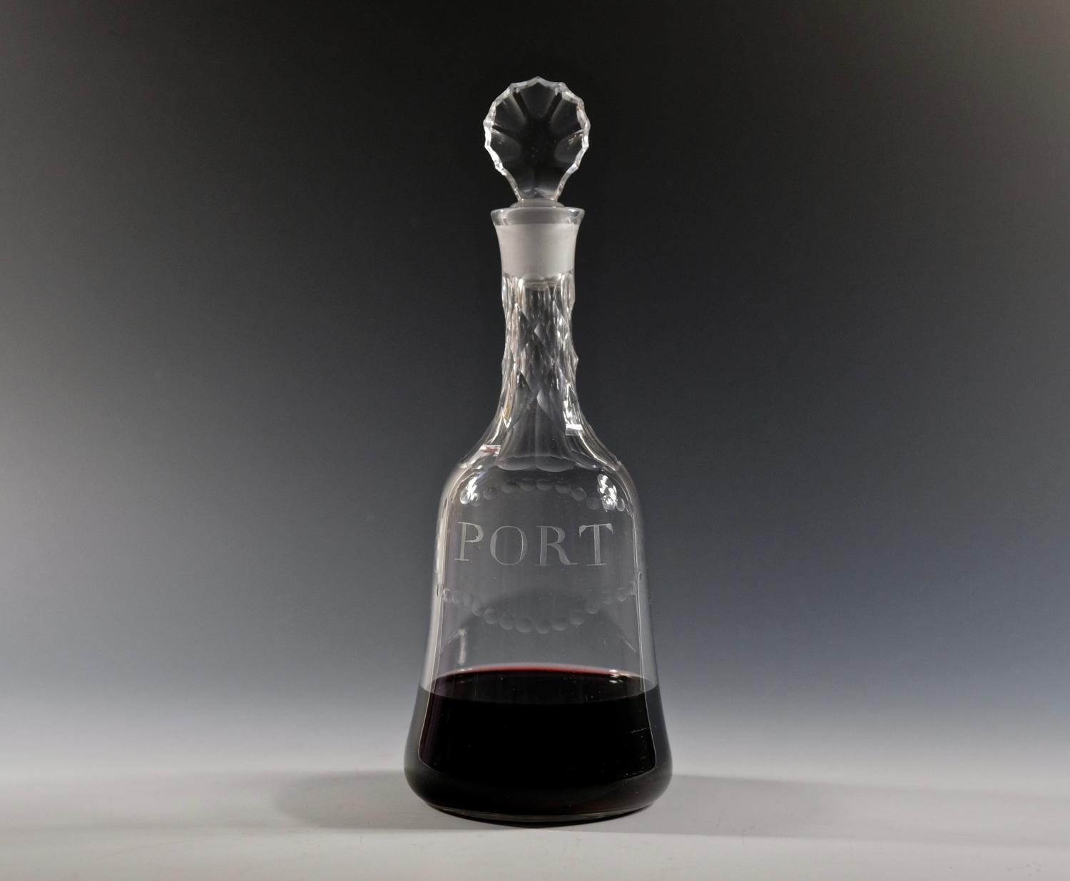 Fine mallet decanter labelled Port English C1770
