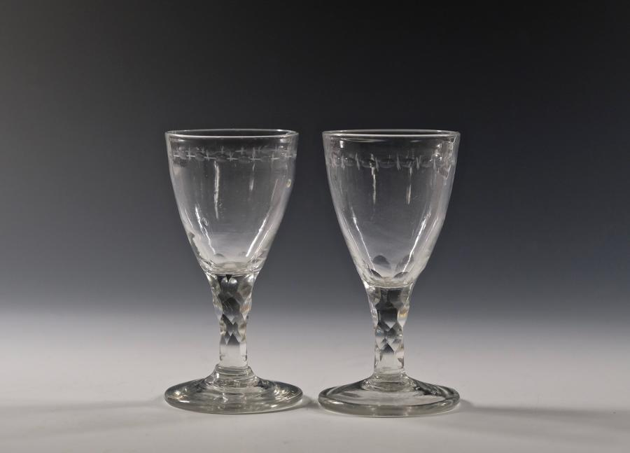 Pair of facet stem wine glasses English C1790