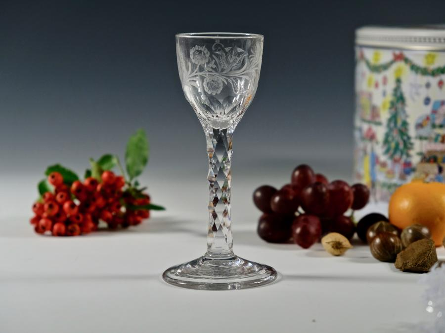 Engraved facet stem wine glass English C1780