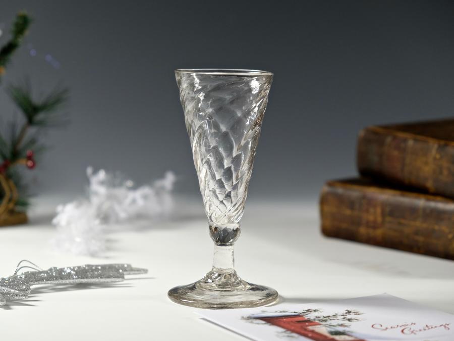 Wrythen ale glass English C1770-1800