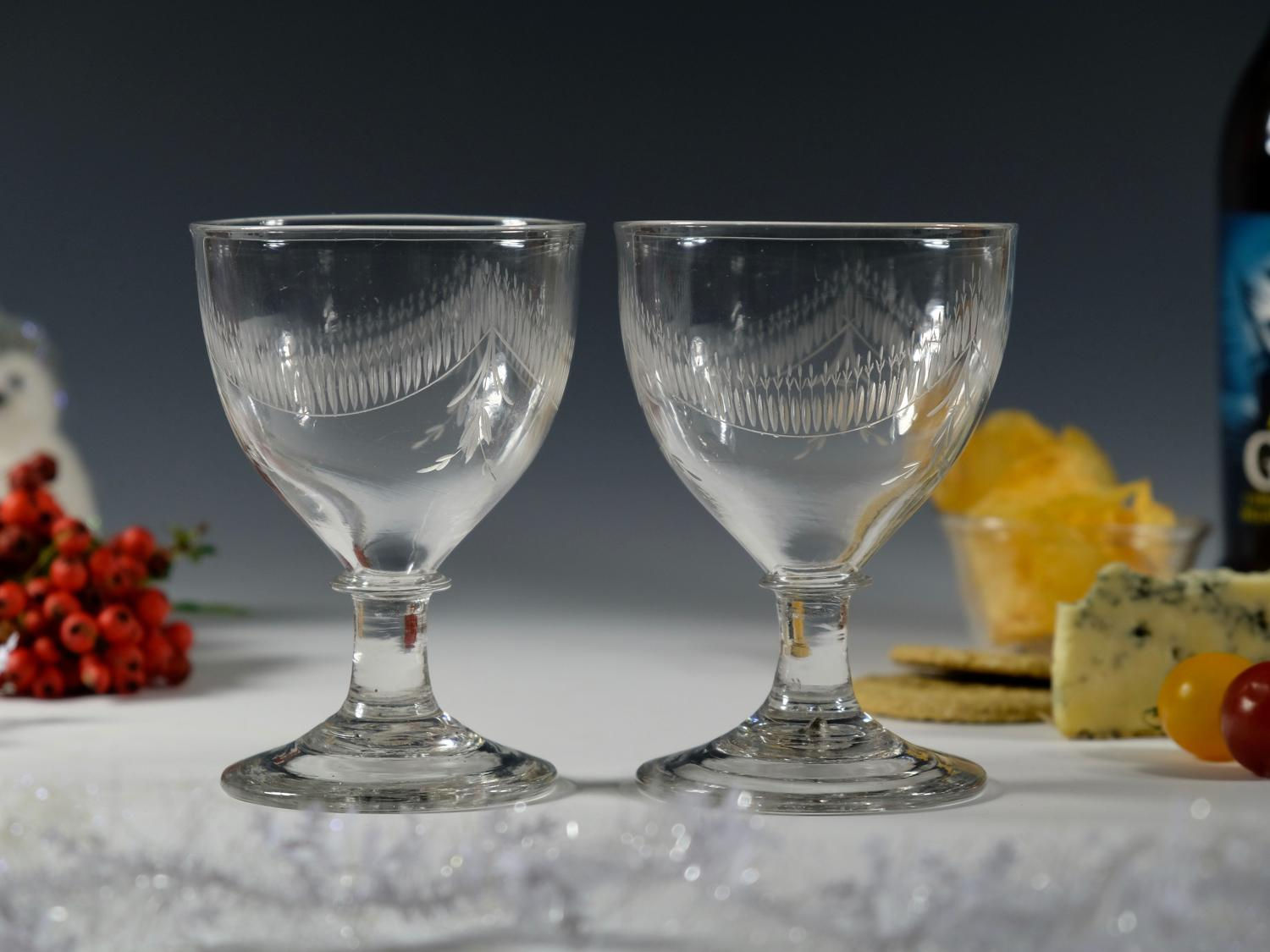 Pair of ovoid bowl rummers English C1800