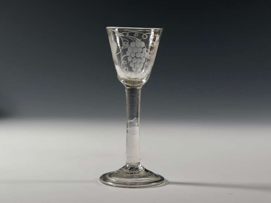 Plain stem wine glass English C1760