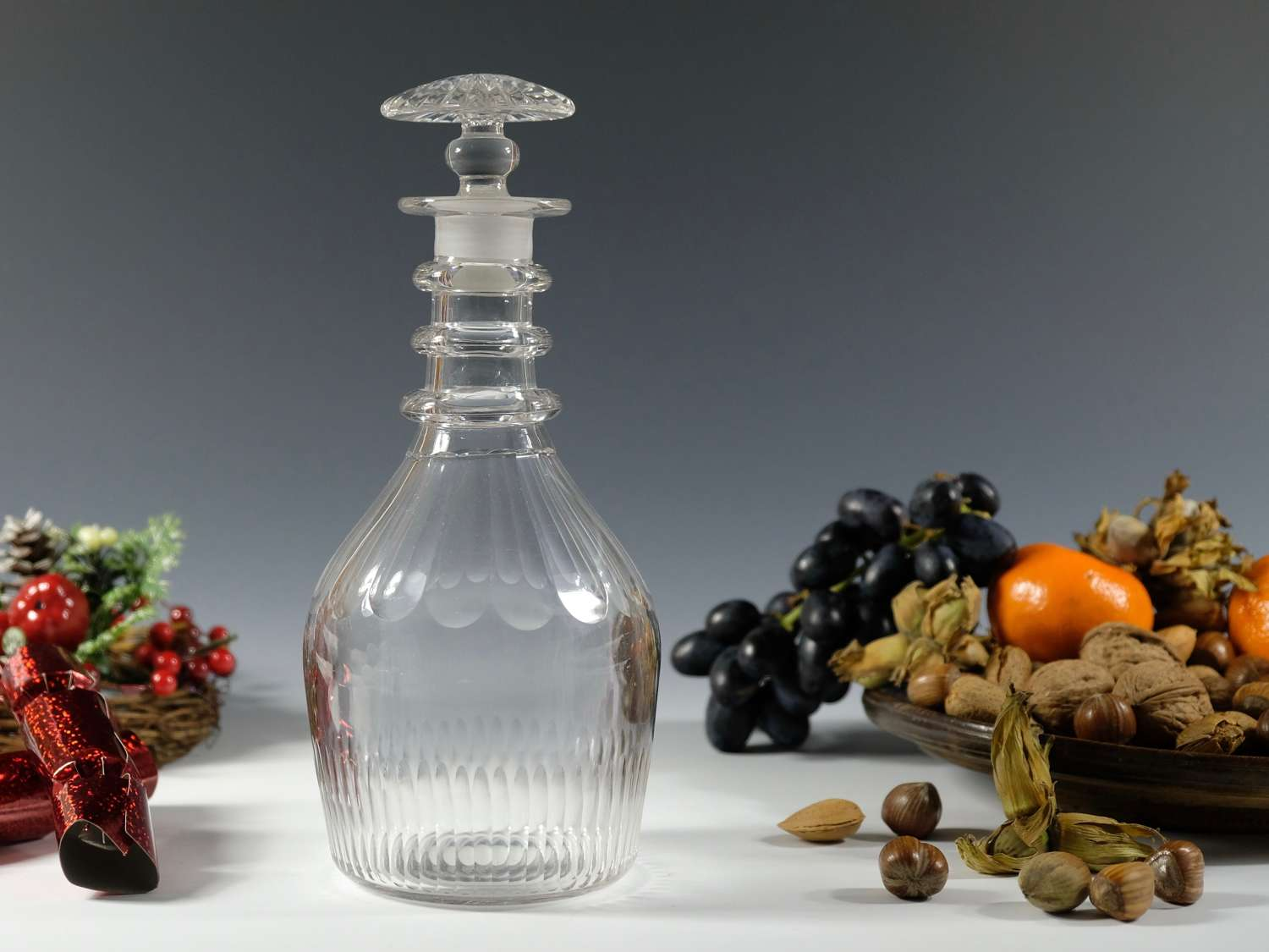 Decanter with three neck rings and mushroom stopper C1830