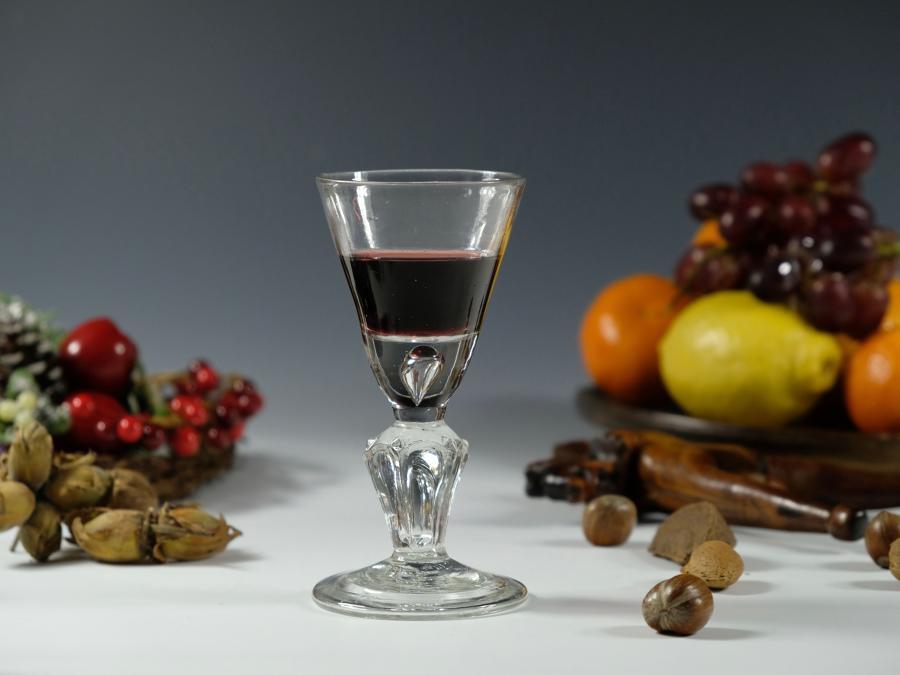 Pedestal stem baluster wine glass English C1720
