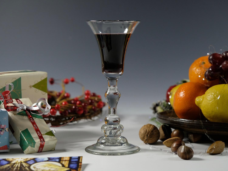 Fine composite stem wine glass English C1740