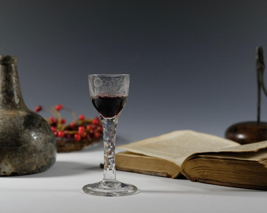 Facet stem wine glass English C1780