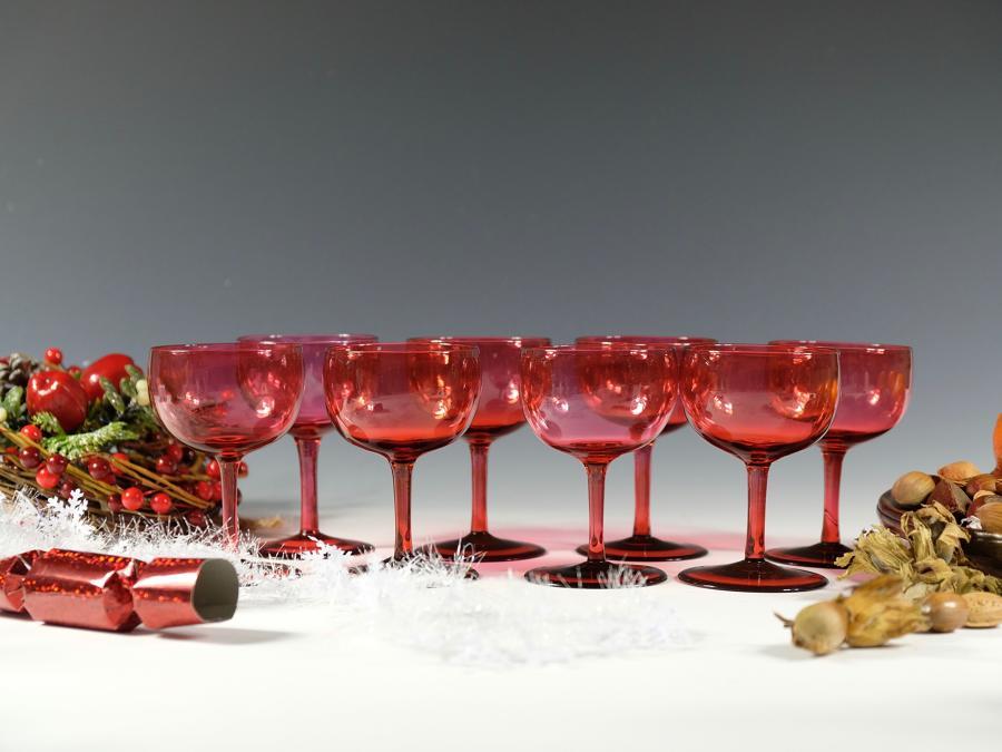 Ten red wine glasses English C1860