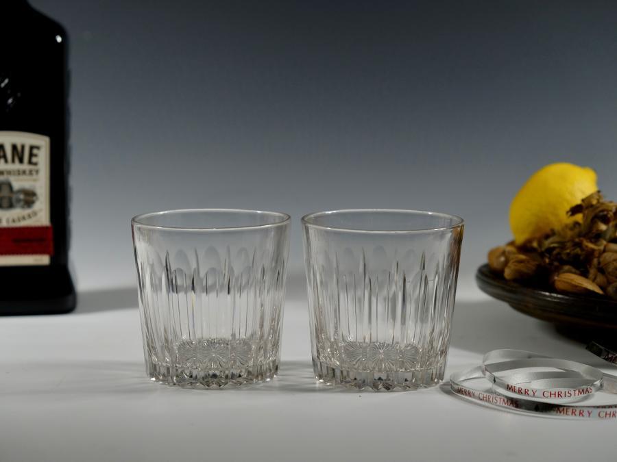 Pair of cut glass tumblers English C1830