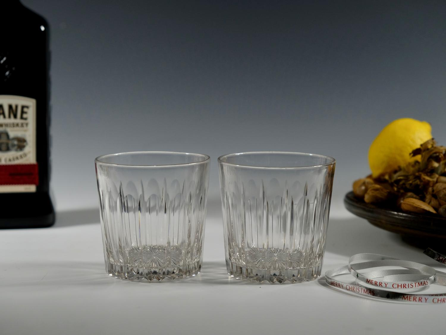 Pair of cut glass tumblers English C1830