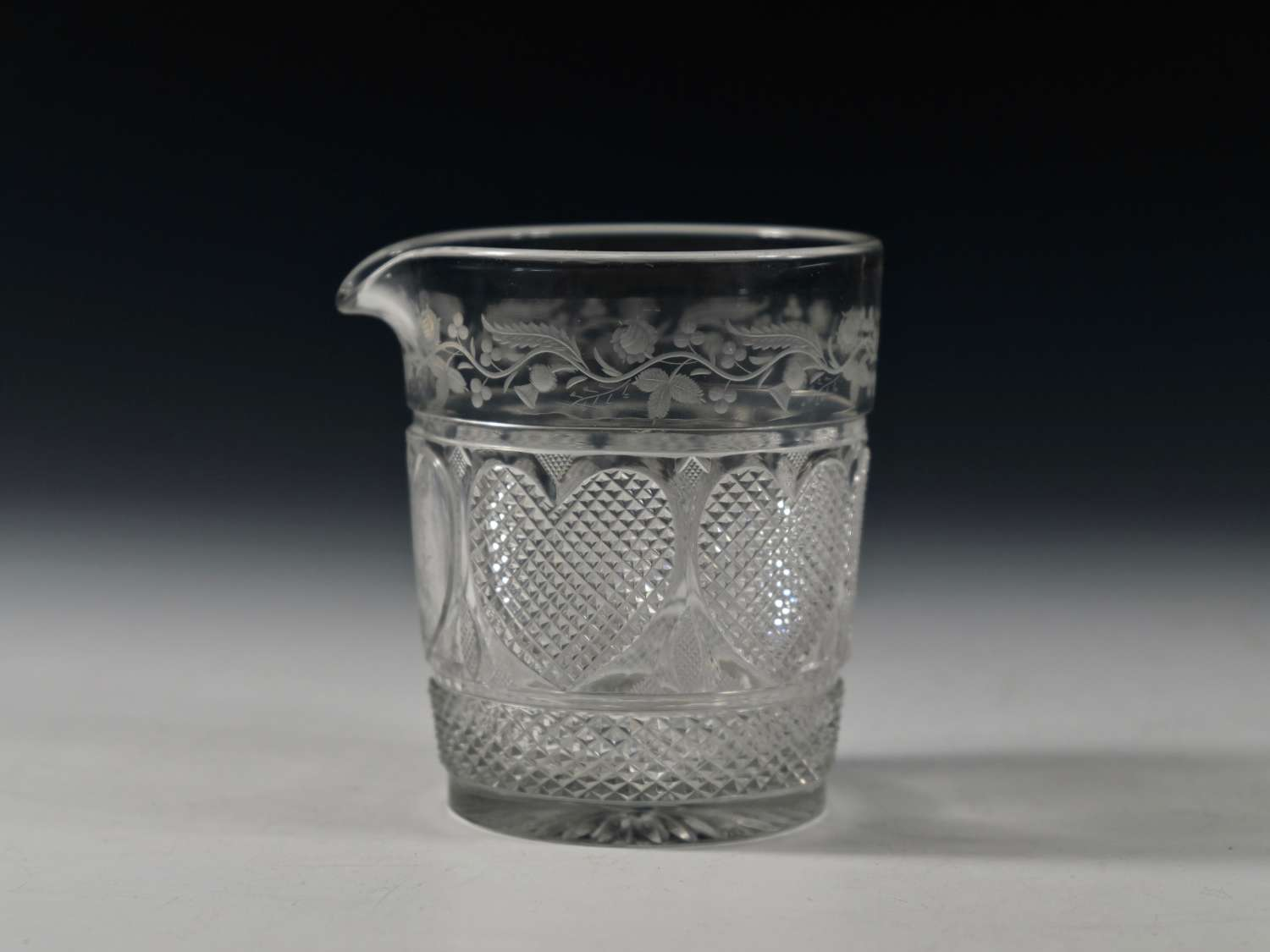 Cut and engraved glass mixing tumbler English C1830