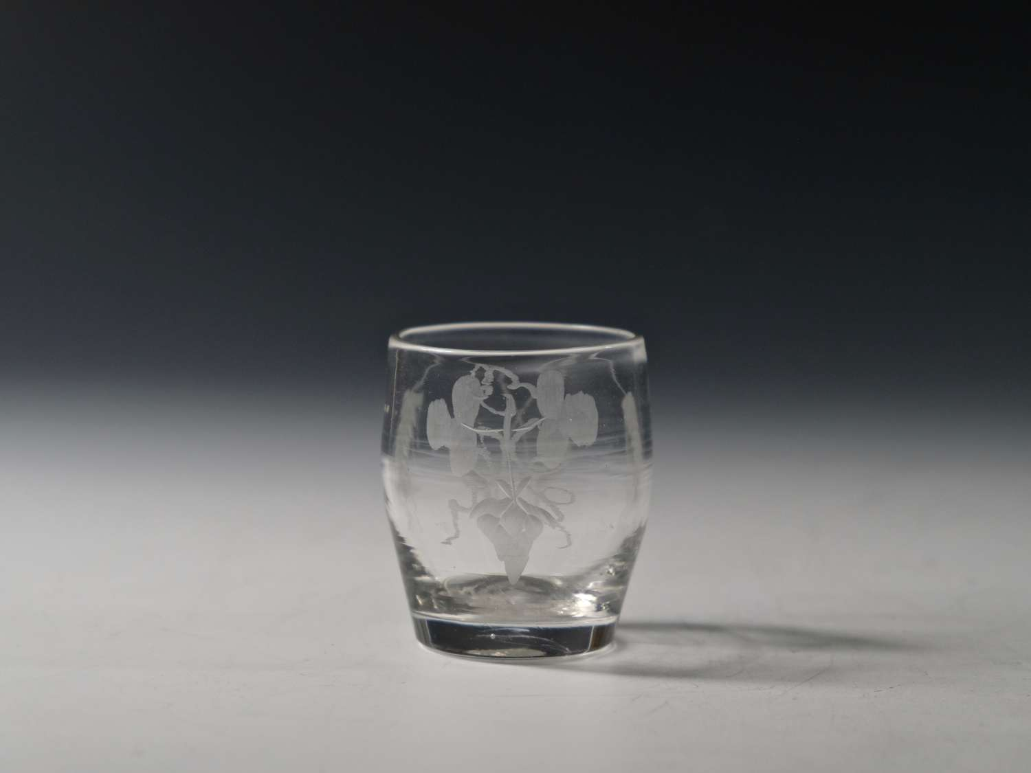 Small barrel tumbler engraved hops and barley C1780/90.