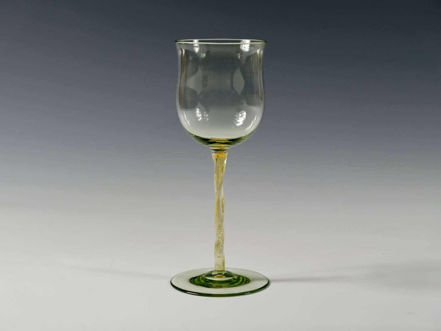 Sea green wine glass with gold foil inclusions C1900