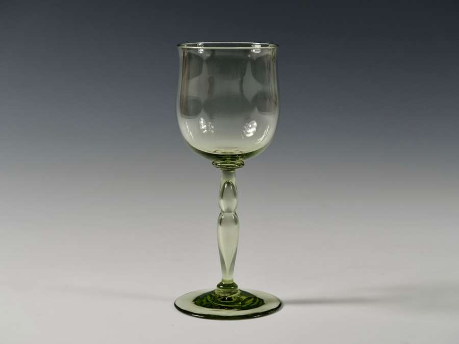 Sea green wine glass with hollow blown Stem 1889