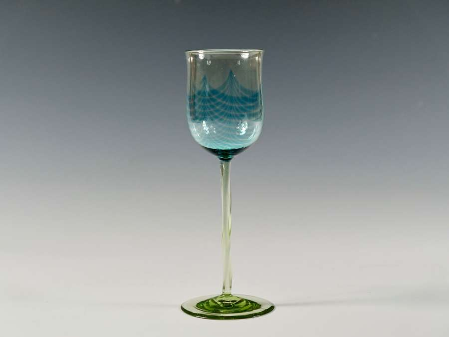 Wine glass with melted in pulled up threads C1899