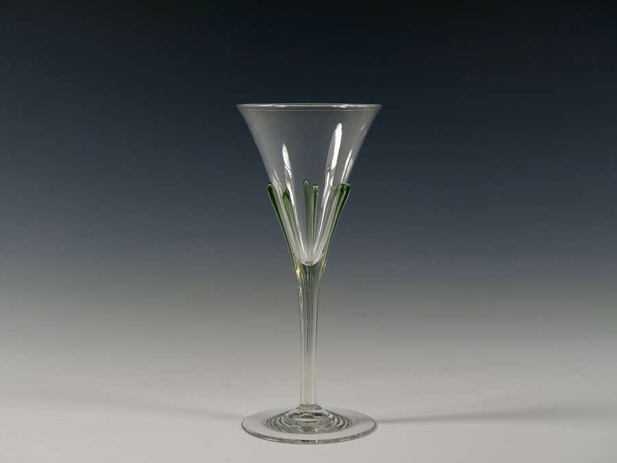 Tear wine glass in flint with eight sea green tears. Designed Harry Po