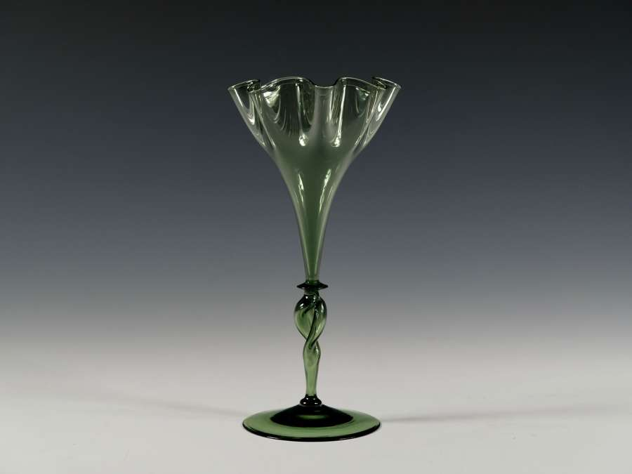 Dark green wavy rim vase Designed by harry Powell C1880