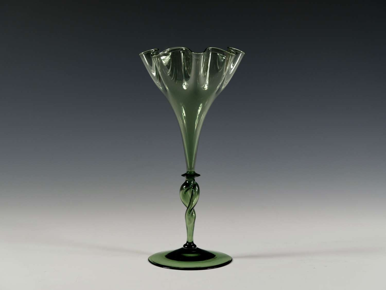 Dark green wavy rim vase Designed by harry Powell C1880