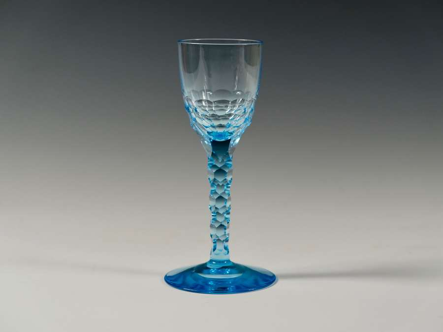 Blue facet stem sherry glass Whitefriars C1931