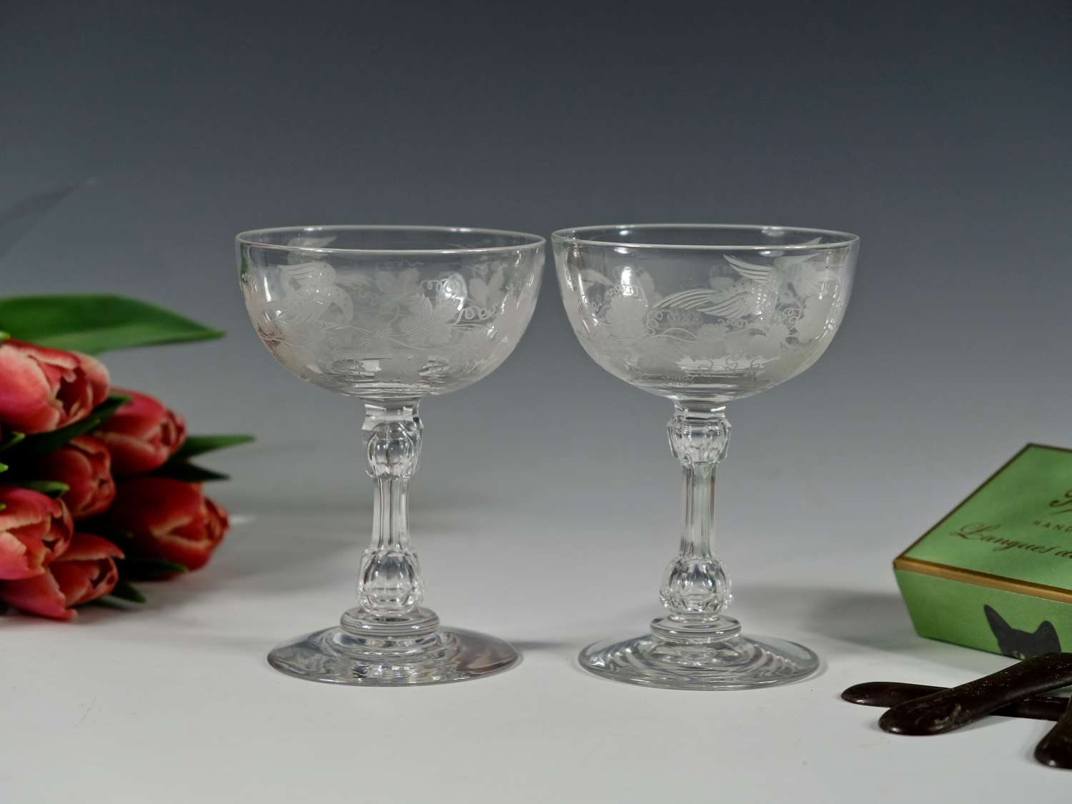 Pair of engraved champagne glasses English C1880