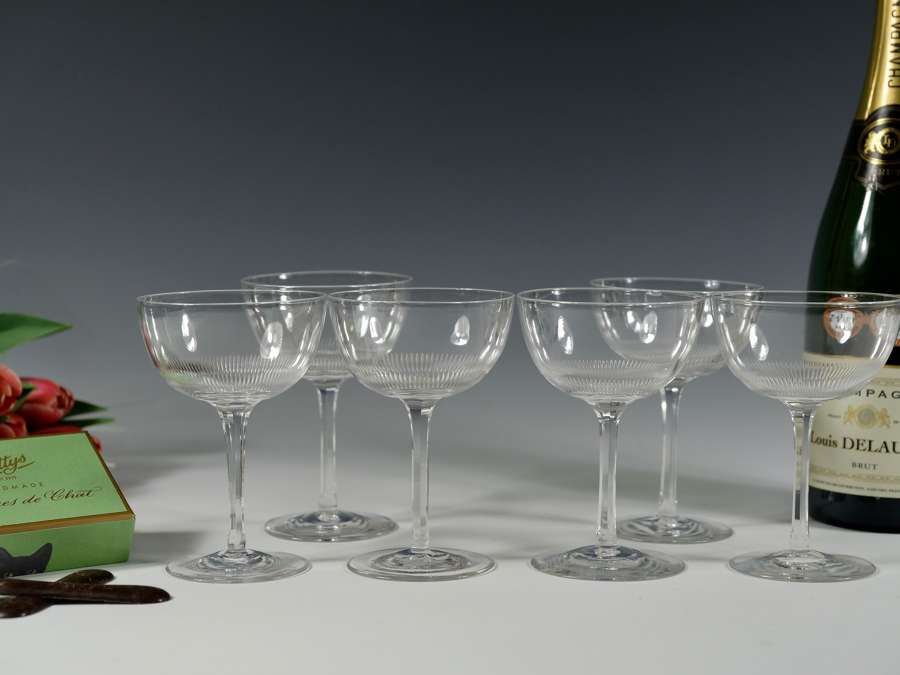 Fourteen champagne glasses English C1900 (six showing)