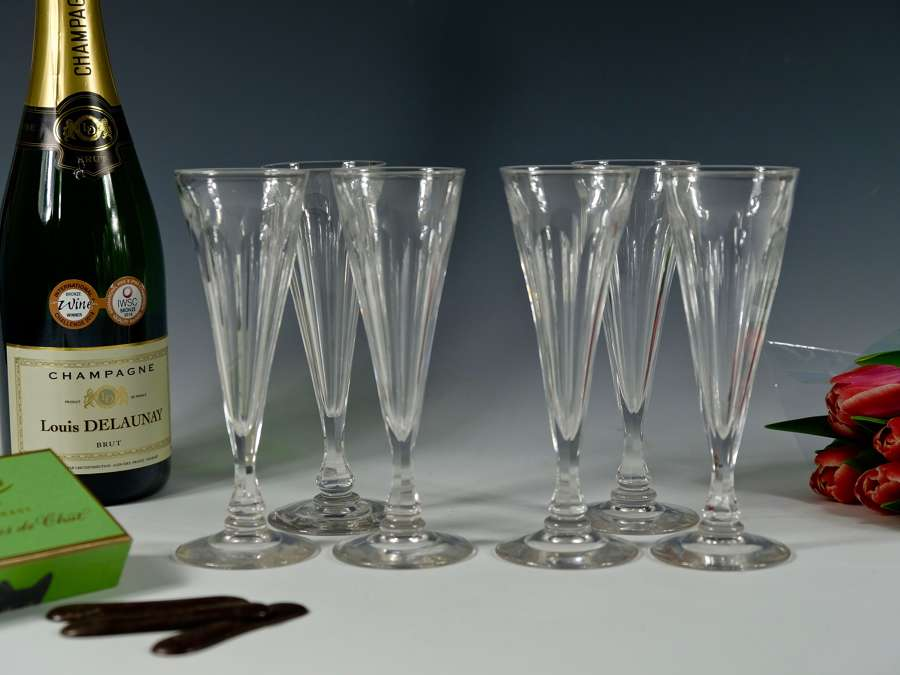 Set of six champagne flutes English C1830