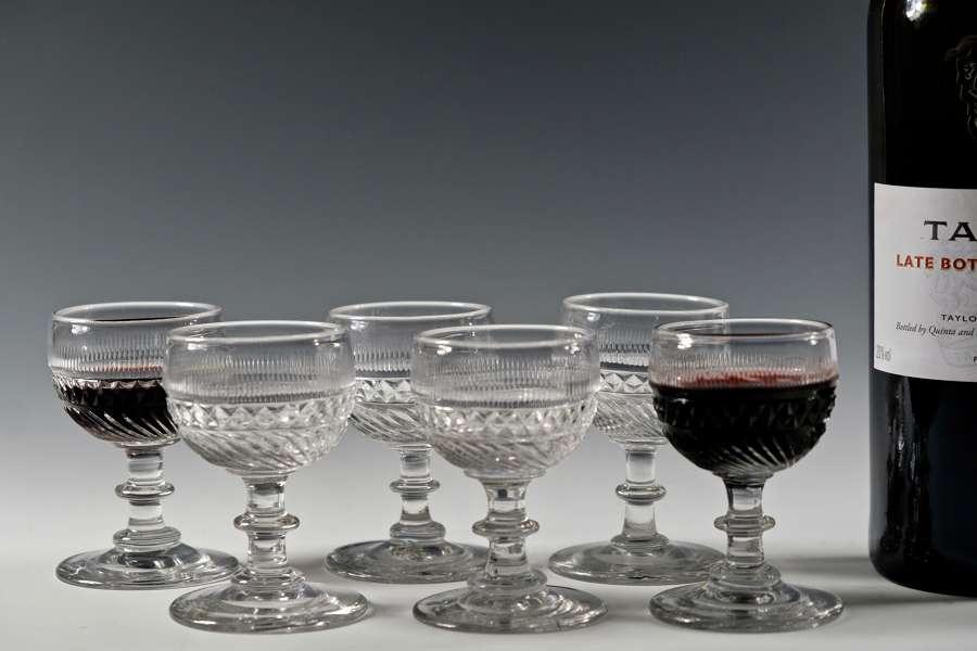 Set of six port glasses English C1830
