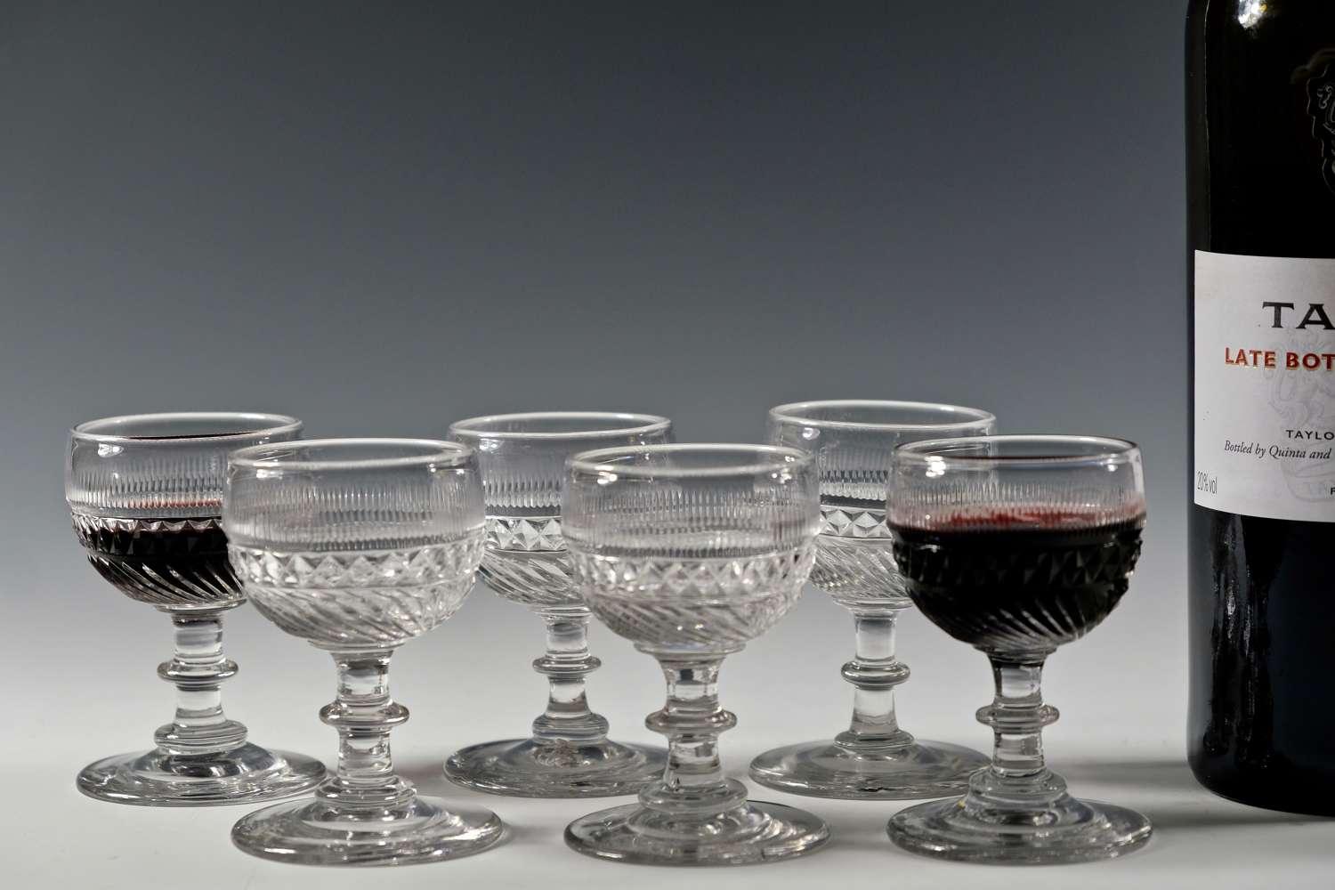 Set of six port glasses English C1830