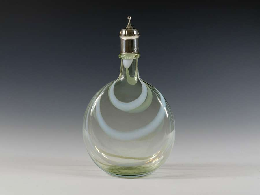 Rare decanter with melted in white threads Designed H Powell 1902