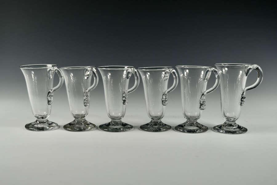 Set of six single handled jelly glasses English C1770