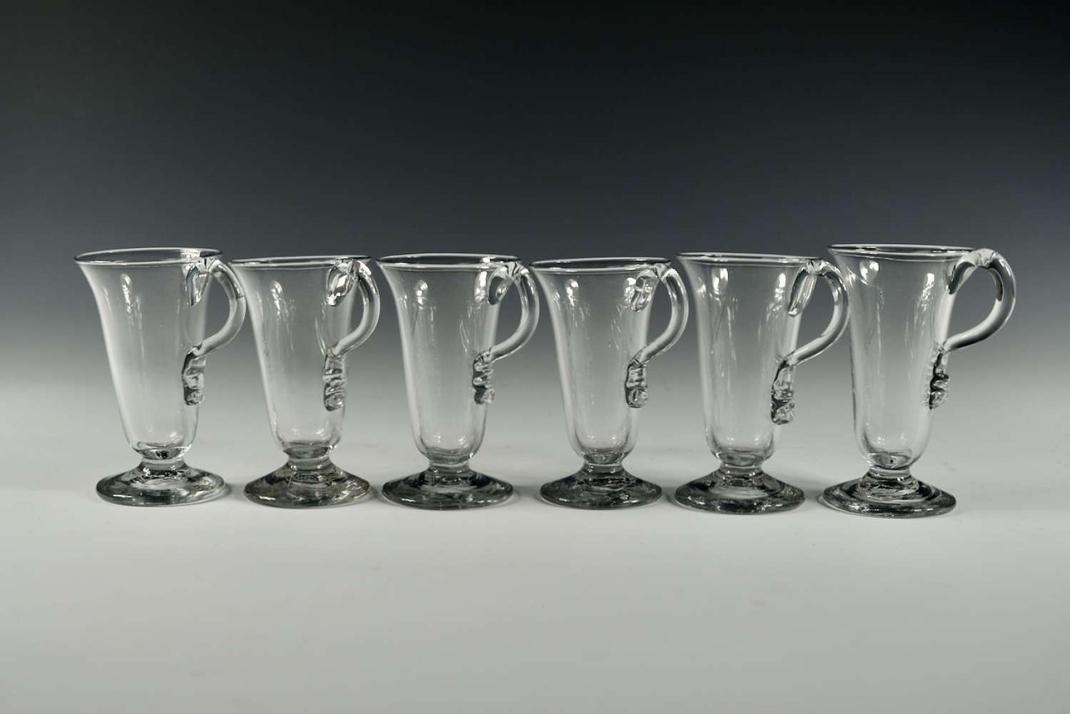 Set of six single handled jelly glasses English C1770