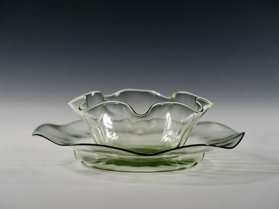 Sea green finger bowl and under dish Whitefriars C1890