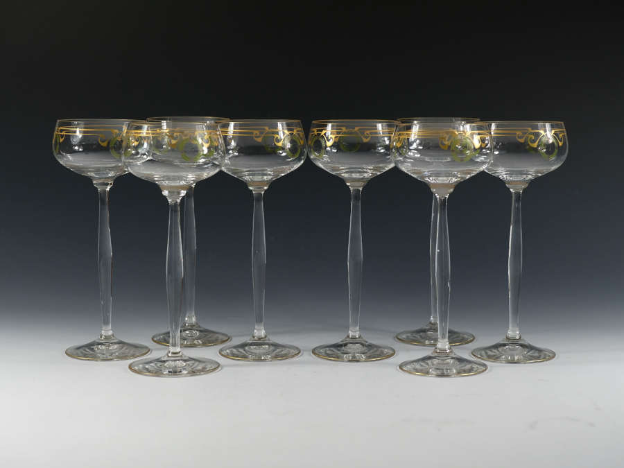 Set of eight Theresienthal Enamelled Hock Glasses C1905