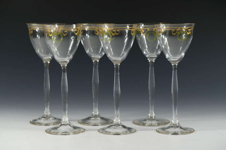 Set of six Theresienthal Enamelled wine Glasses C1905