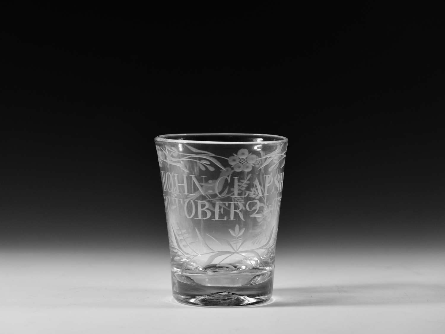 Engraved tumbler dated 1775