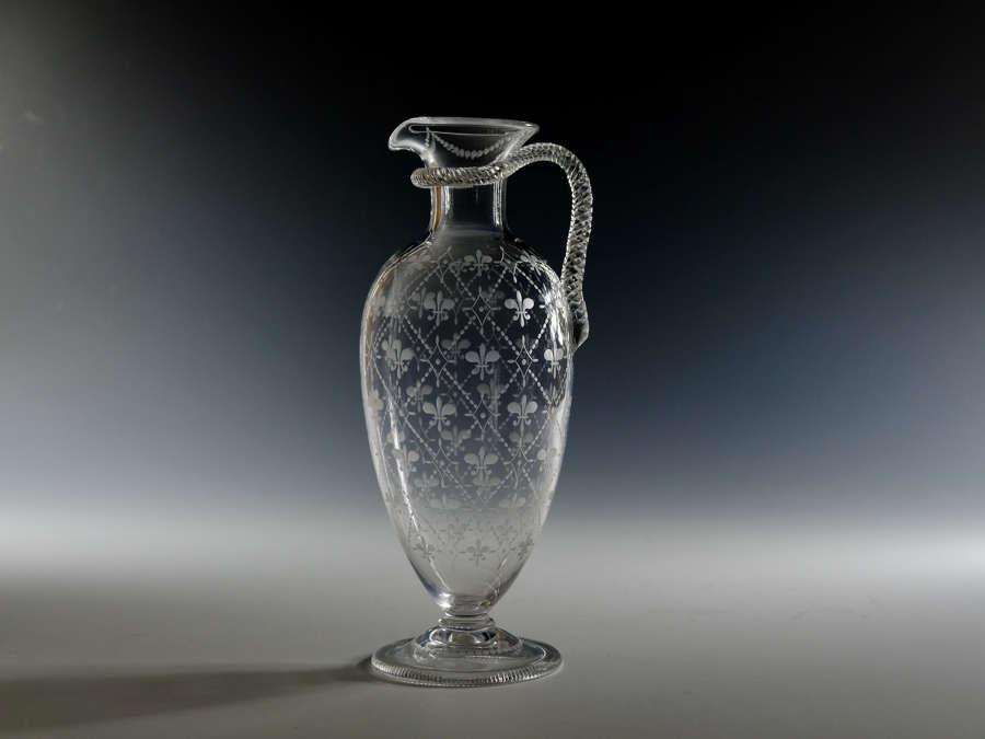 Engraved glass jug English C1880