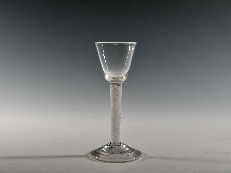 Multi spiral opaque twist wine glass English C1760
