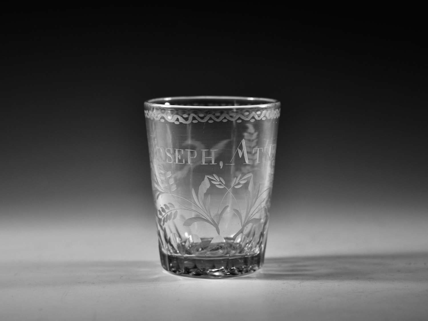Engraved tumbler J Akinson Irish C1800