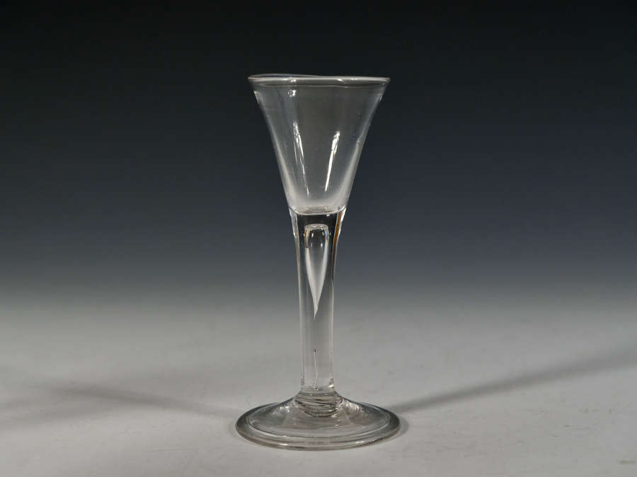 Plain stem drawn trumpet wine glass c1750