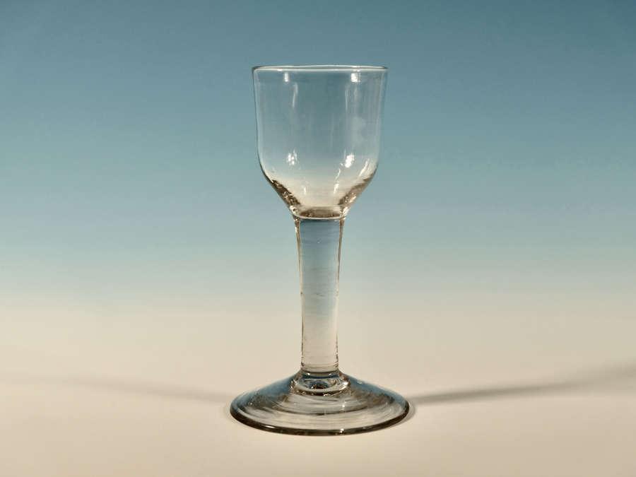 Large plain stem wine glass English c1760