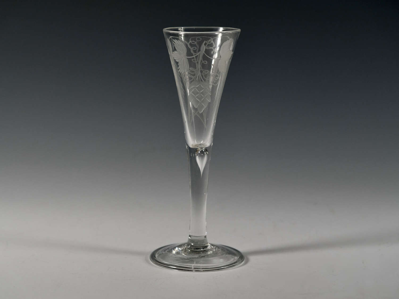 Fine plain stem drawn trumpet ale glass English c1750